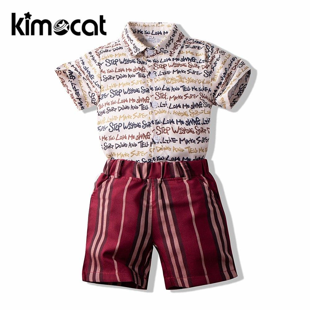 Kimocat-ملابس أطفال أولادي ، قميص بأكمام قصيرة ، بنطلون قطني ، طقم ملابس رياضية للأطفال من قطعتين ، مخطط