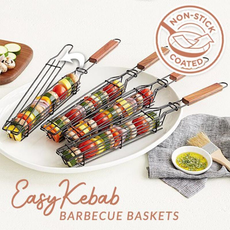 1 шт. корзина для гриля, многоразовый прочный антикоррозийный инструмент для барбекю с деревянной ручкой, корзина для гриля, сетка для гриля, кухонные аксессуары для барбекю