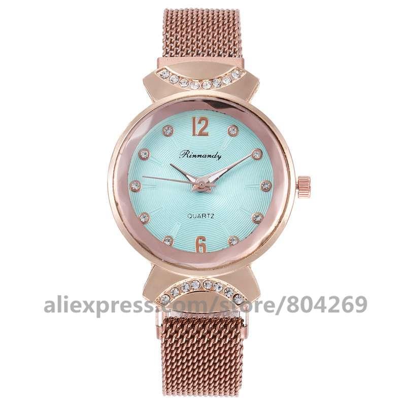 الجملة المغناطيسي النساء ساعات كوارتز ساعة اليد موضة السيدات روز الذهب حجر الراين ساعة معصم ساعات رائجة البيع