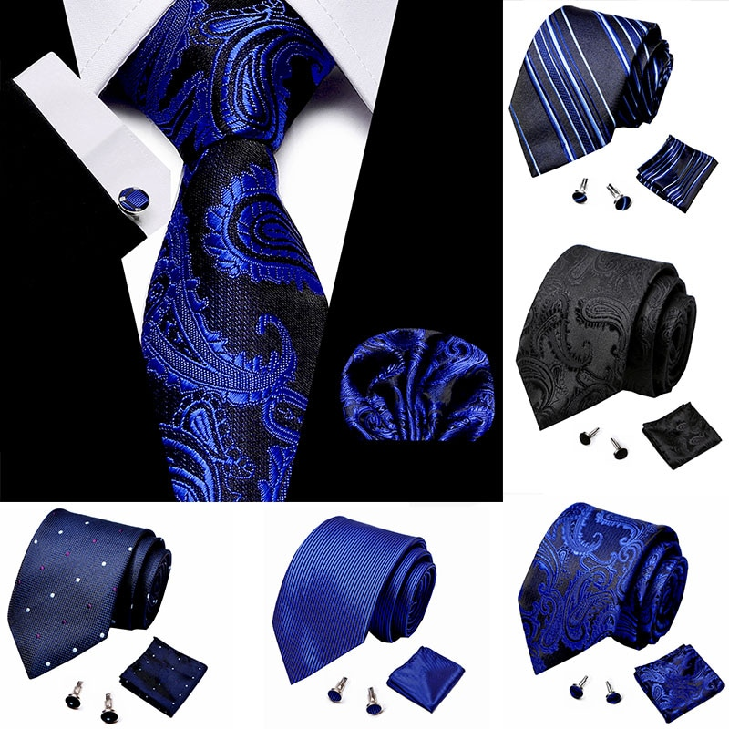 Classical Men Handkerchief Cuffink Necktie Set Blue Polyester Jacquard 100% Silk Jacquard Woven Neck Tie Suit Wedding Mens Ties недорого