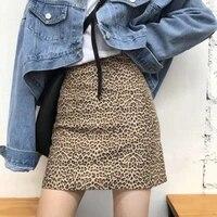women mini skirt high waist leopard print party clubwear casual short cocktail clothing elegant straight a line hip soft skirts