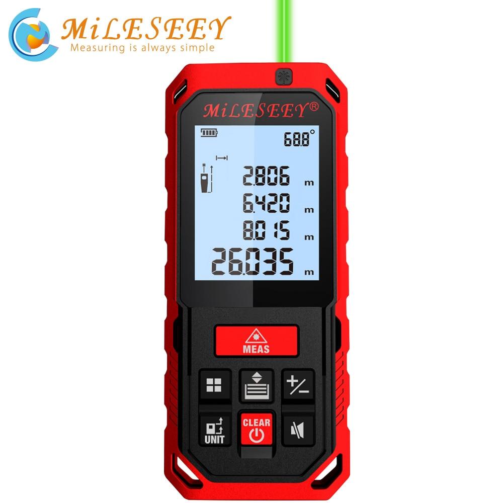 Mileseey-telémetro láser verde S2/S8G, medidor de distancia láser Digital, cinta métrica láser,...