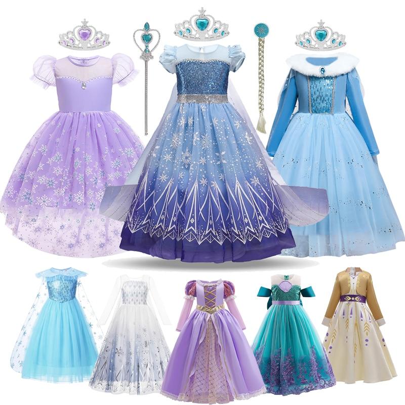 Disney Frozen Anna Elsa Princess Dress Girls Fancy Sequins Ball Gown Clothes Halloween Cosplay Costume Kids Snow Queen Vestidos