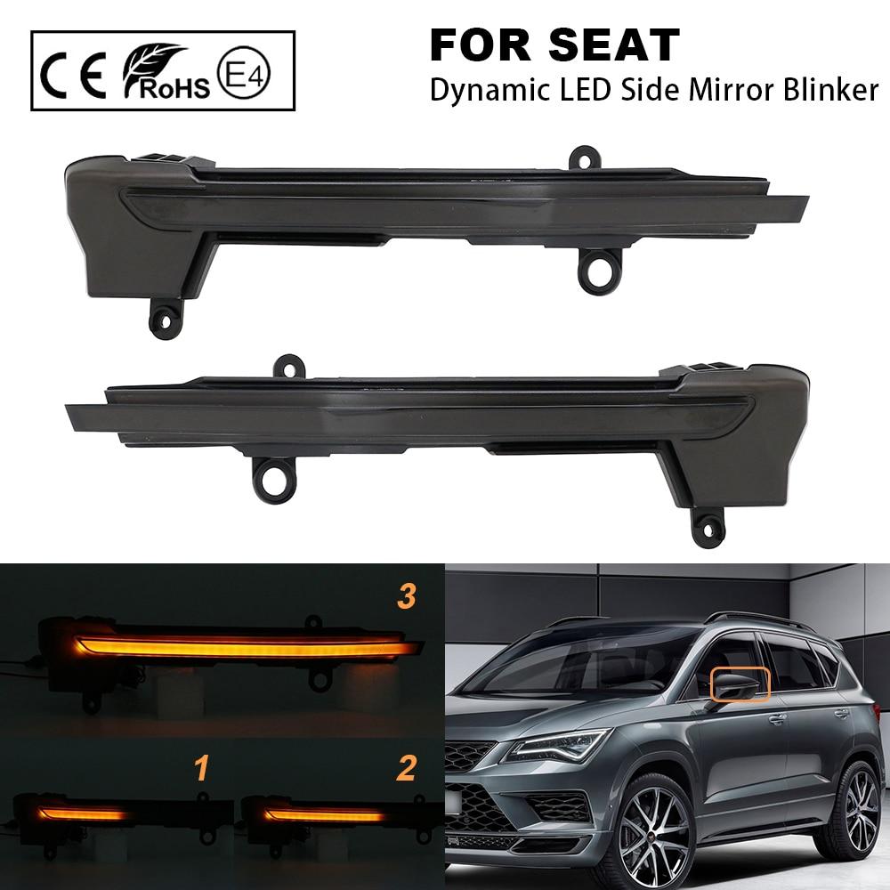 2X Smoke LED Dynamic Mirror Blinker Light Turn Signal Lamp Amber light For Seat Ateca 2016- Seat Tarraco 5F 2019-