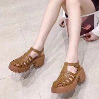 2021 sandals block heels low heeled shoes with strap all match suit female beige new chunky low heeled buckle gladiator fashion