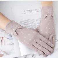 women bunny kitty design short sunscreen cotton gloves japan cute riding breathable touch screen waist gloves mittens