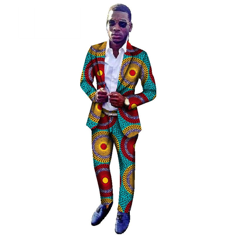 2 Pieces Set African Pants Set Men Traditional Africa Style Suits Fashion Party African Print Blazer Coat and Pants Men WYN164