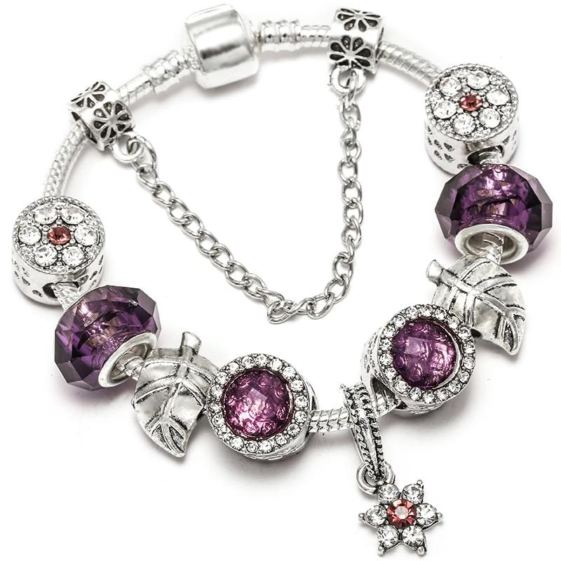 DINGLLY Magnolia Perlen Charme Armbänder Für Frauen Männer Original Rot Kristall Violett Marken Armband Paar Armreif Geschenke