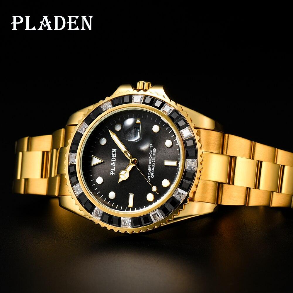 PLADEN Gold Mens Watches Top Brand Luxury Black Emerald Diamond Analog European Montre Swimming Gent