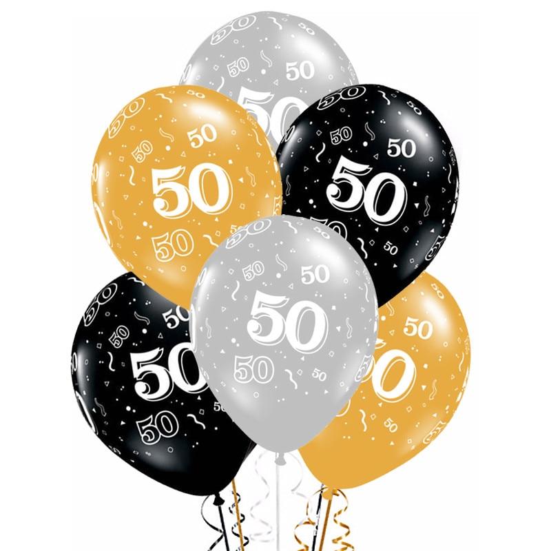 10 Uds. Globos de látex dorados, de 12 pulgadas plateados y negros, 50 años de adornos para fiesta de cumpleaños, globo de helio para adultos, 50 cumpleaños Dec