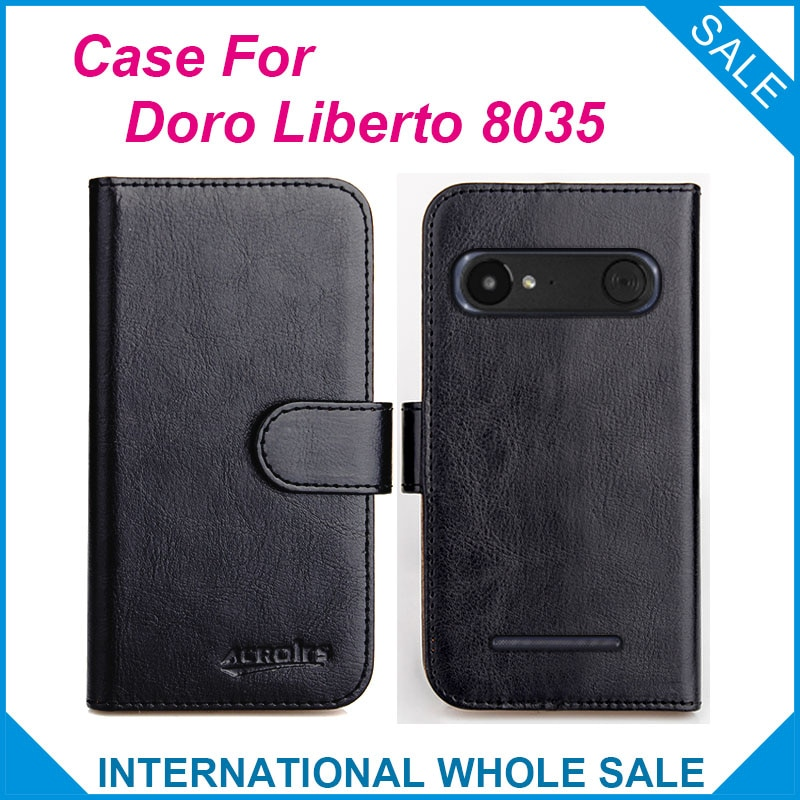 ¡Original! Doro Liberto 8035 Funda de cuero con tapa de 6 colores de alta calidad para Doro Liberto 8035 funda de teléfono con ranuras