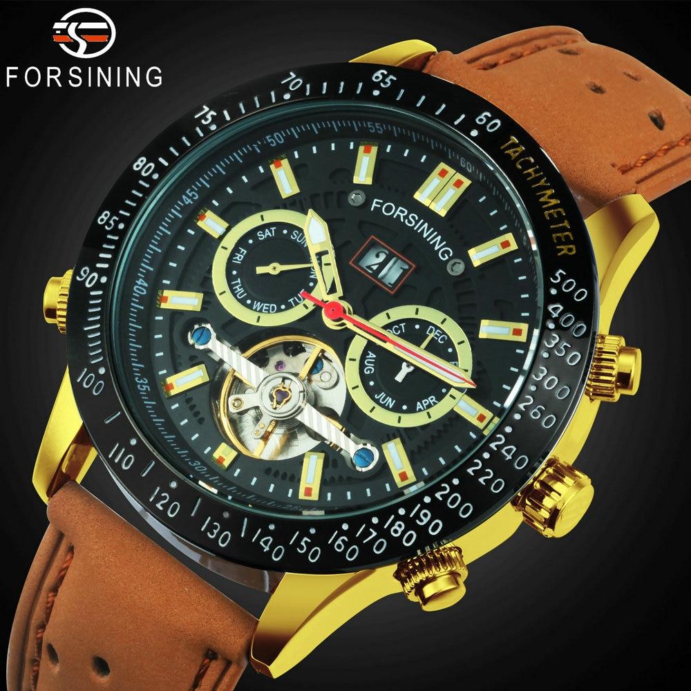 Reloj Mecánico FORSINING Tourbillon de moda con correa de cuero para hombre, relojes automáticos multifunción para hombre, reloj de lujo
