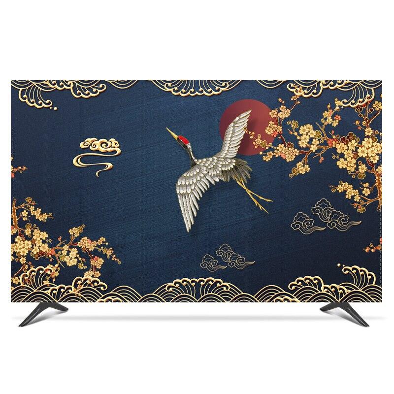 "19 "" - 80"" 22 pulgadas 75 pulgadas pantalla LCD TV PC funda decorativa cortina paisaje grúa Luna pluma impermeable gris verde azul"