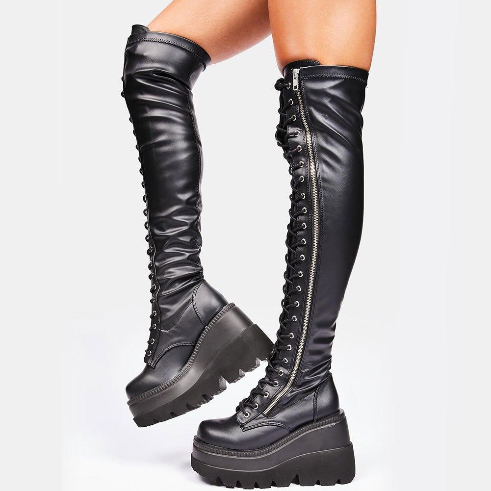 GIGIFOX جديد تماما موضة القوطية نمط كبير الحجم 43 الأسود هالوين هدية تأثيري مصاص دماء كول أسافين الفخذ أحذية امرأة الأحذية