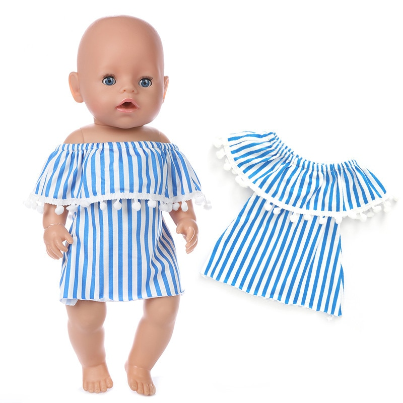 Fit 18 inch 43cm Blue Clothes Pellet Set Baby New Born Doll Clothes Accessories Red Unicorn Suit For