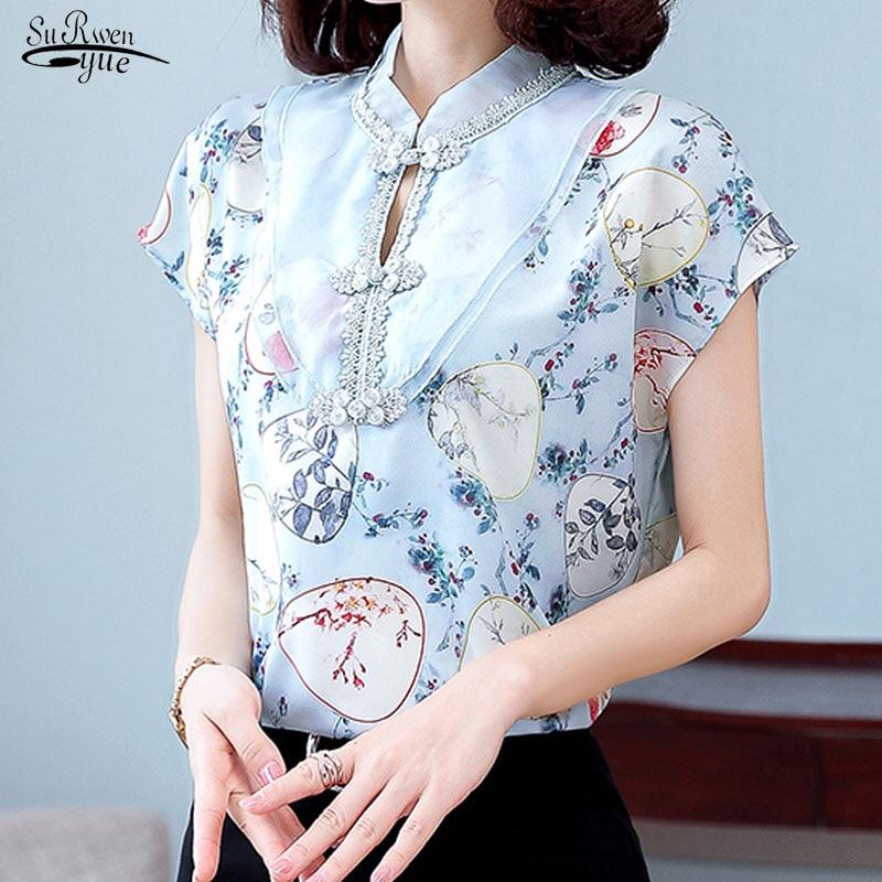 Blusas 2020 verano blusa mujer estampado Vintage seda camisa manga corta Mujer suelta elegante empalme Organza Chic señora ropa 9873