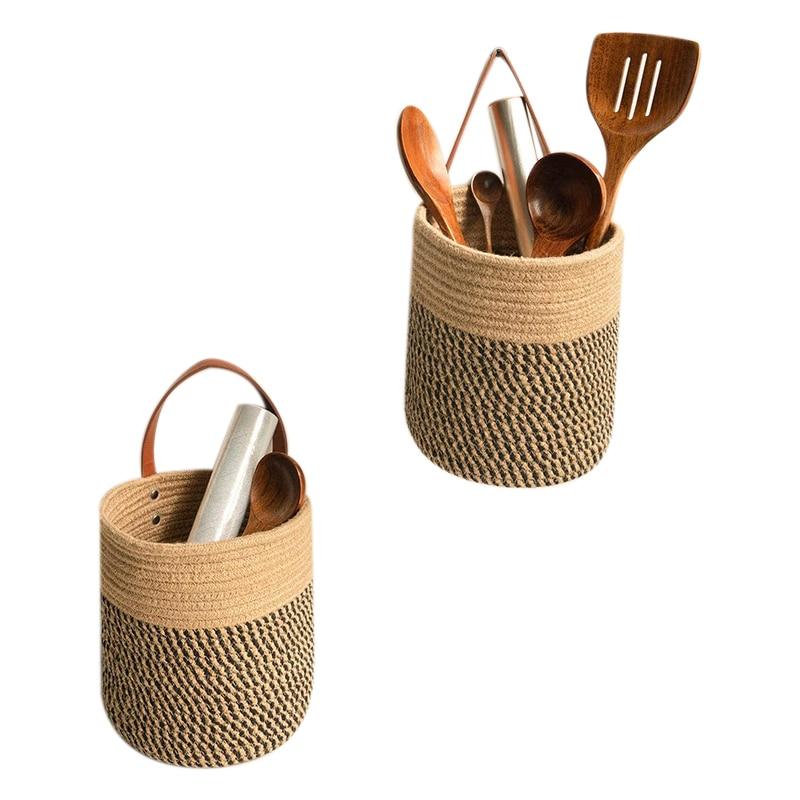Cesta colgante de cáñamo tejido, cesta de flores, tejida, hecha a mano,...