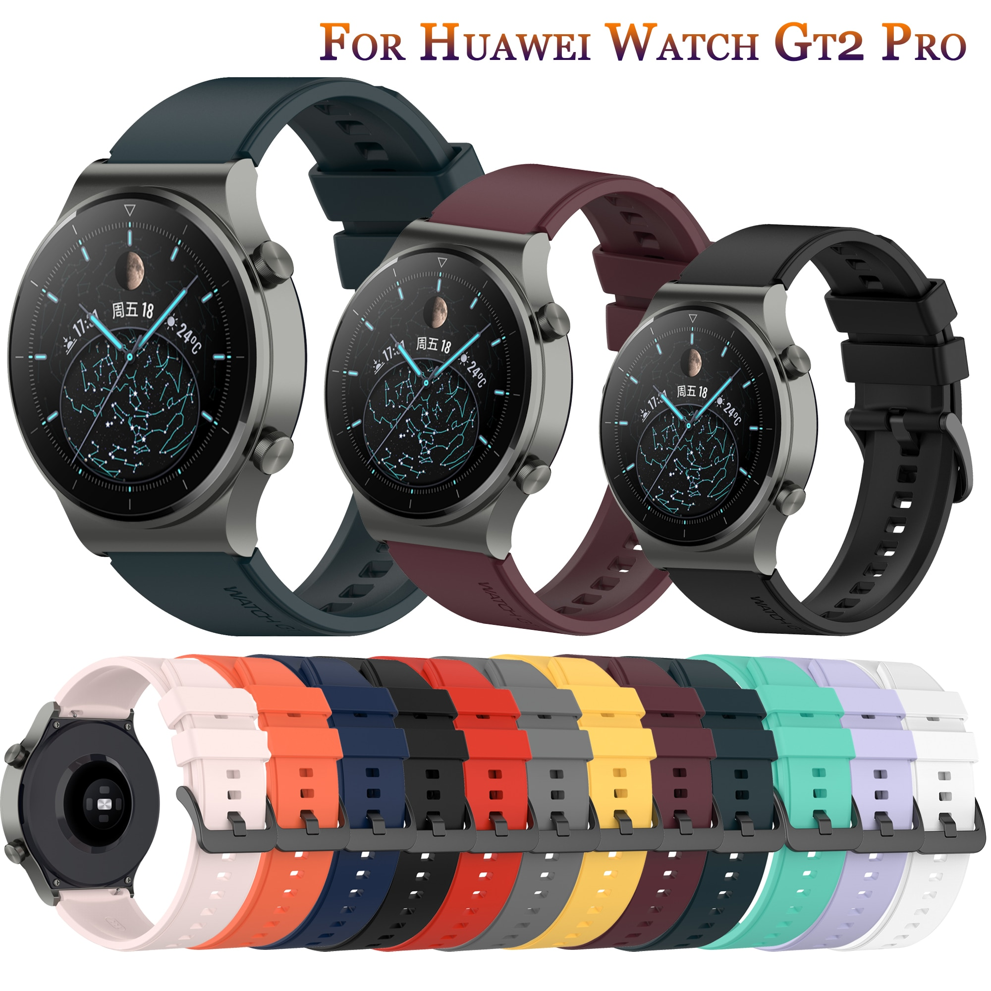 Official Silicone Wrist Strap for Huawei Watch GT 42mm46mm smartwatch Strap for huawei watch GT2 Pro GT2 46mm Band belt bracelet silicone leather watchband for huawei watch gt gt2 46 honor magic 2 46mm watch band wrist strap bracelet belt for ticwatch pro