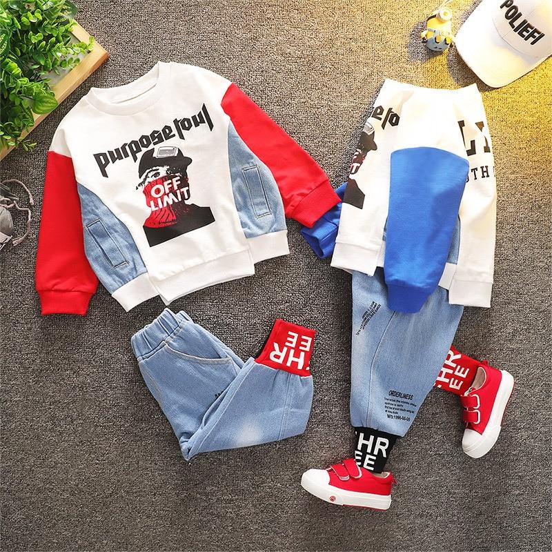 Primavera otoño conjunto de ropa para niño pequeño abrigo y pantalones 2 uds conjuntos de ropa de algodón para bebé 2020 nuevos chándales de marca para niños pequeños