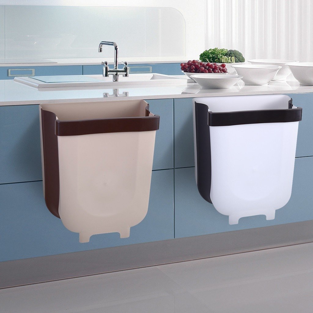 Wall Mounted Trash Can Folding Waste Bin Convenient Kitchen Cabinet Door Hanging Trash Bin Small storage Basket Box Kitcheb