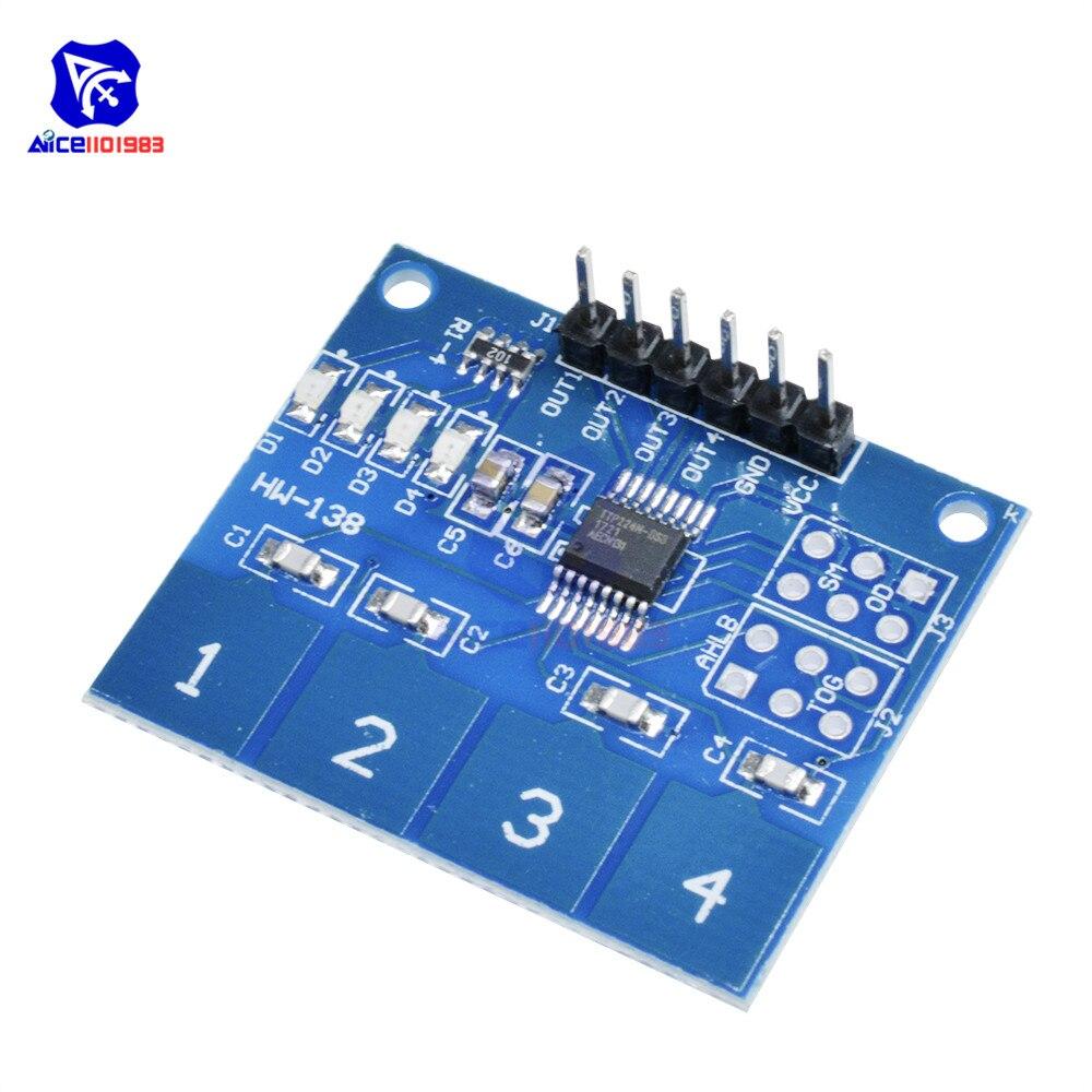 Diymore TTP224 Módulo Sensor táctil capacitivo Digital de 4 teclas para Arduino