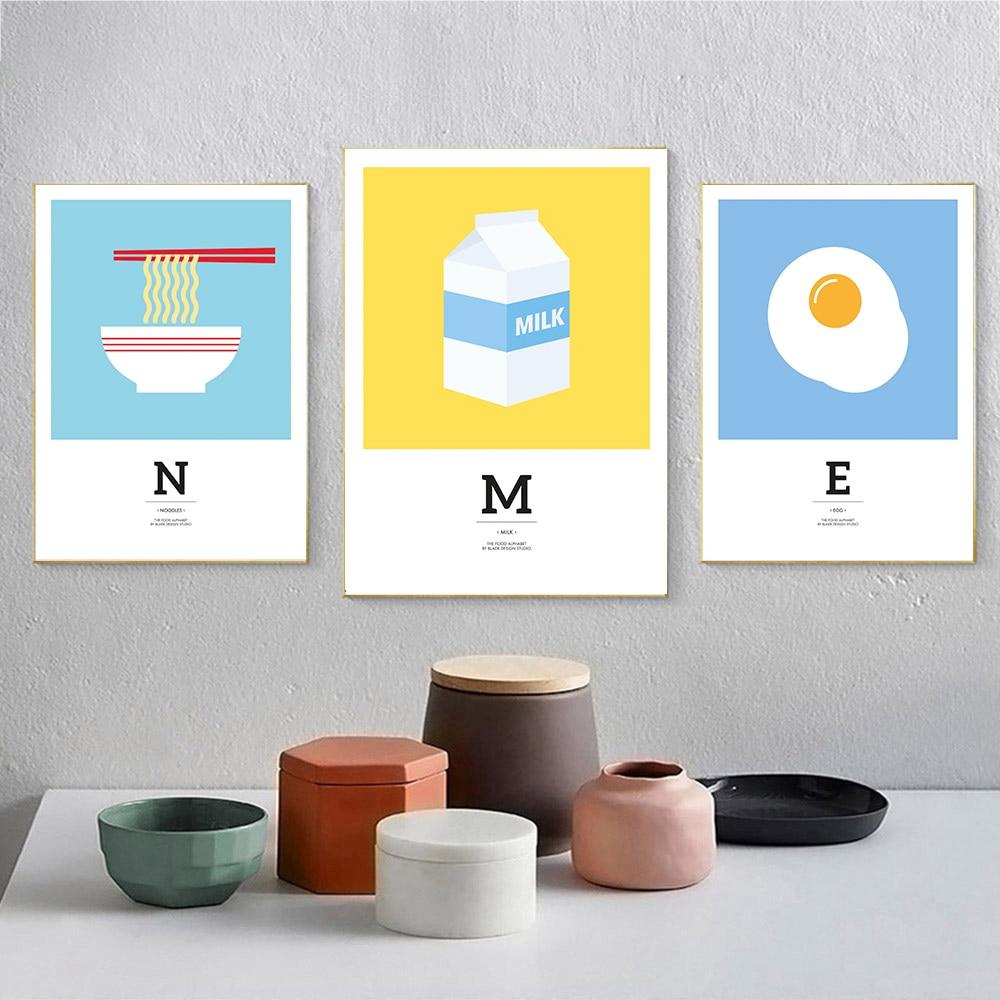 Cartel de dibujos animados con diseño de huevo y leche, lienzo para niños, cuadro artístico de pared para cocina, sala de estar, decoración moderna para el hogar, impresión en la pared