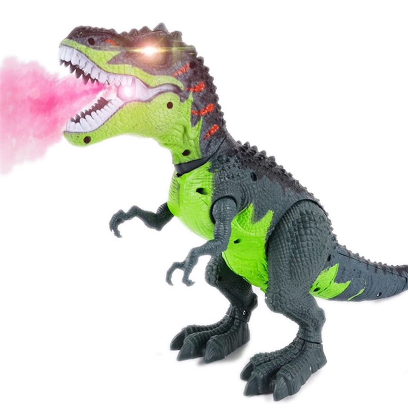 Triangulación de envíos, dinosaurio tiranosaurio de llama simulada, juguete de dinosaurio t-rex para niños, dinosaurio que camina, rociador de agua, luz roja y sonidos realistas