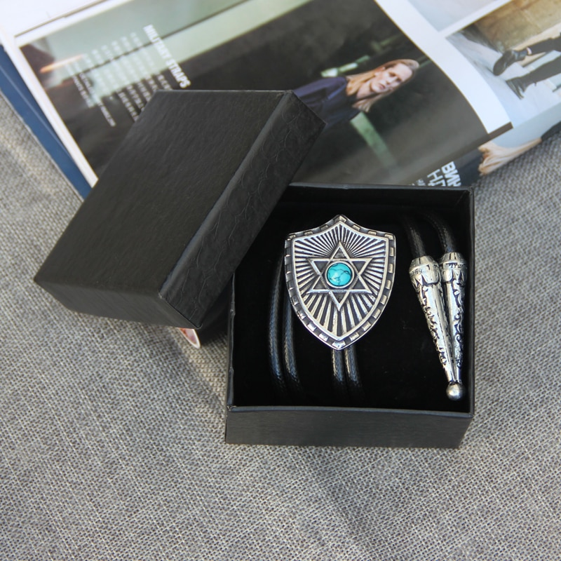 Handmande ! Vintage Western Cowboy Mens BOLO Tie Slide Clip Shield Inlay Turquoise High Quality Polyester Rope