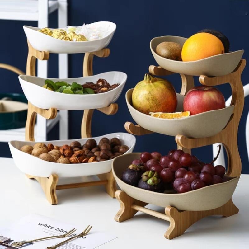 Plato de plástico de tres capas para fruta, plato de aperitivos, cesta de fruta seca moderna creativa, plato de dulces para sala de estar