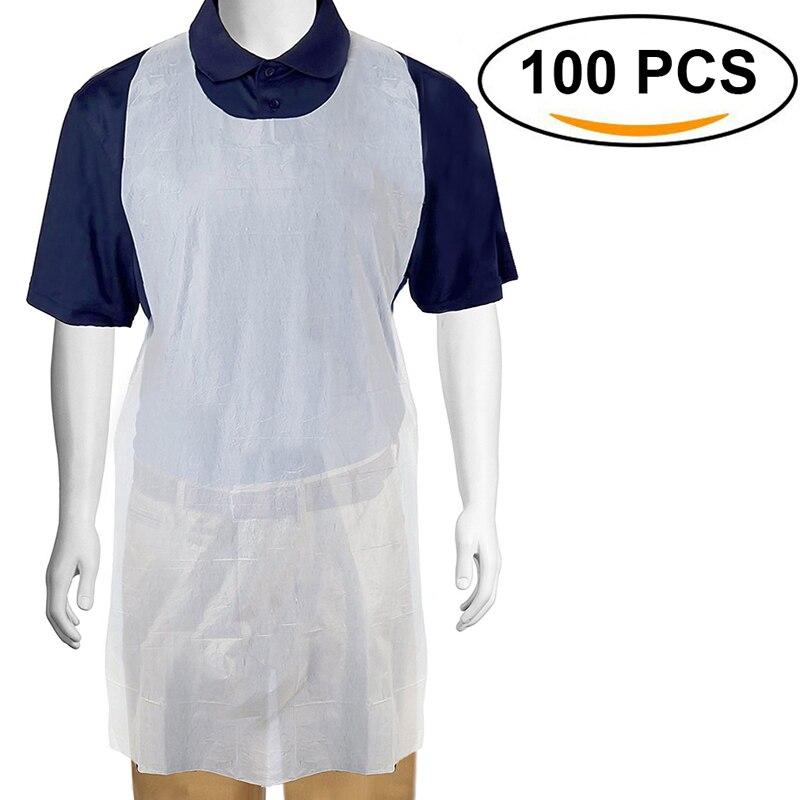100 шт./компл. белые одноразовые чистящие фартуки прозрачные простые в использовании Кухонные фартуки для женщин мужчин Кухонные фартуки