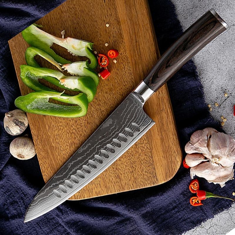 Cuchillos de cocina de acero de Damasco, 67 capas, rebanador profesional, cuchillo...
