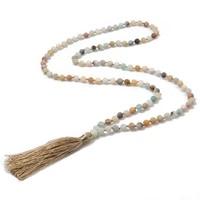 showboho 6mmrosarynecklacenaturalstone meditation declaration necklace yoga rosary prayer pendant beaded tassel necklace