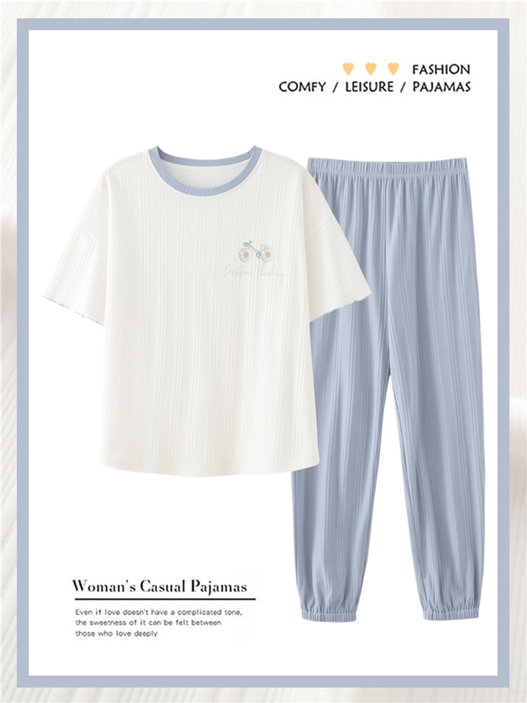 Pajamas Women's 2021 New Summer Short Sleeve Trousers Pure Cotton Thin Round Neck Girls' Home Clothe