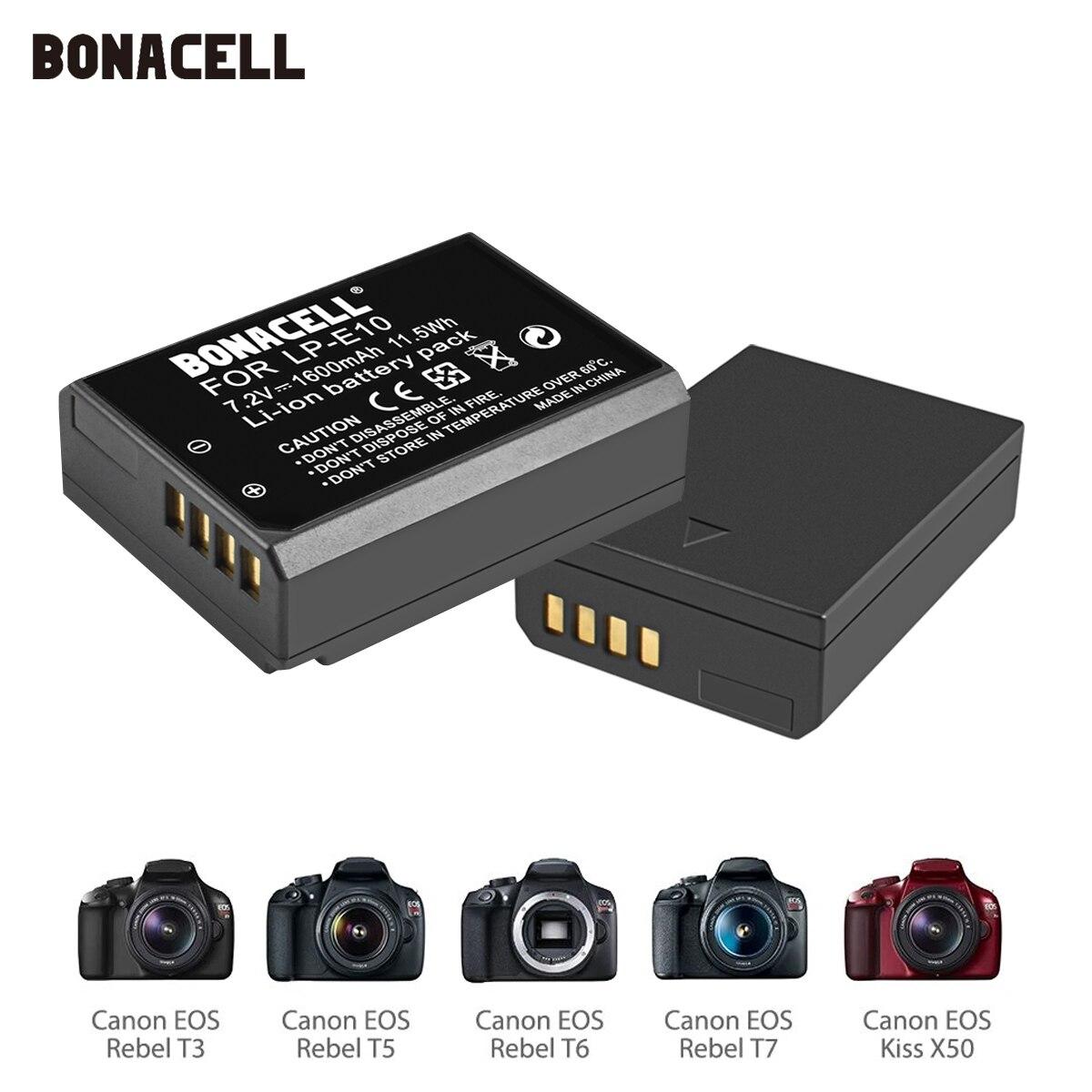 Bonacell LP-E10 LPE10 LP E10 Digital camera battery for Canon EOS 1100D 1200D 1300D 2000D Rebel T3 T5 T6 KISS X50 X70 Battery L5 znter 7 2v 1600mah lp e5 lpe5 lp e5 camera battery for canon eos eos rebel xs rebel t1i rebel xsi 1000d 500d 450d l50
