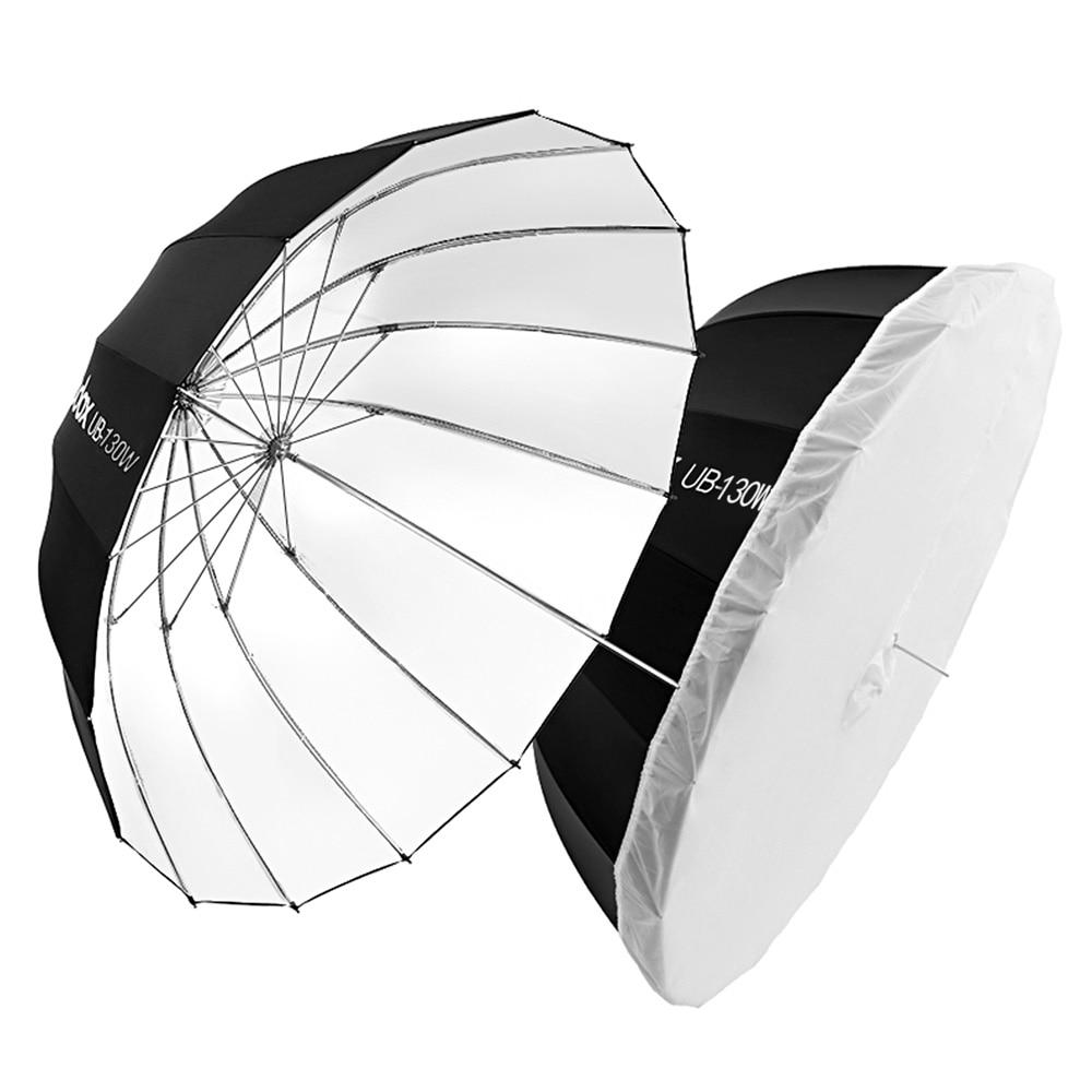 Godox UB-85W 33.5in 85 سنتيمتر مكافئ أسود أبيض عاكس مظلة مظلة إضاءة الاستوديو مع الأسود الفضة الناشر غطاء من القماش