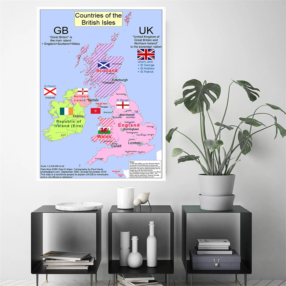 60*90 cm Map of The United Kingdom (2010) Vintage Canvas Painting Wall Art Poster Home Decoration Travel School Supplies