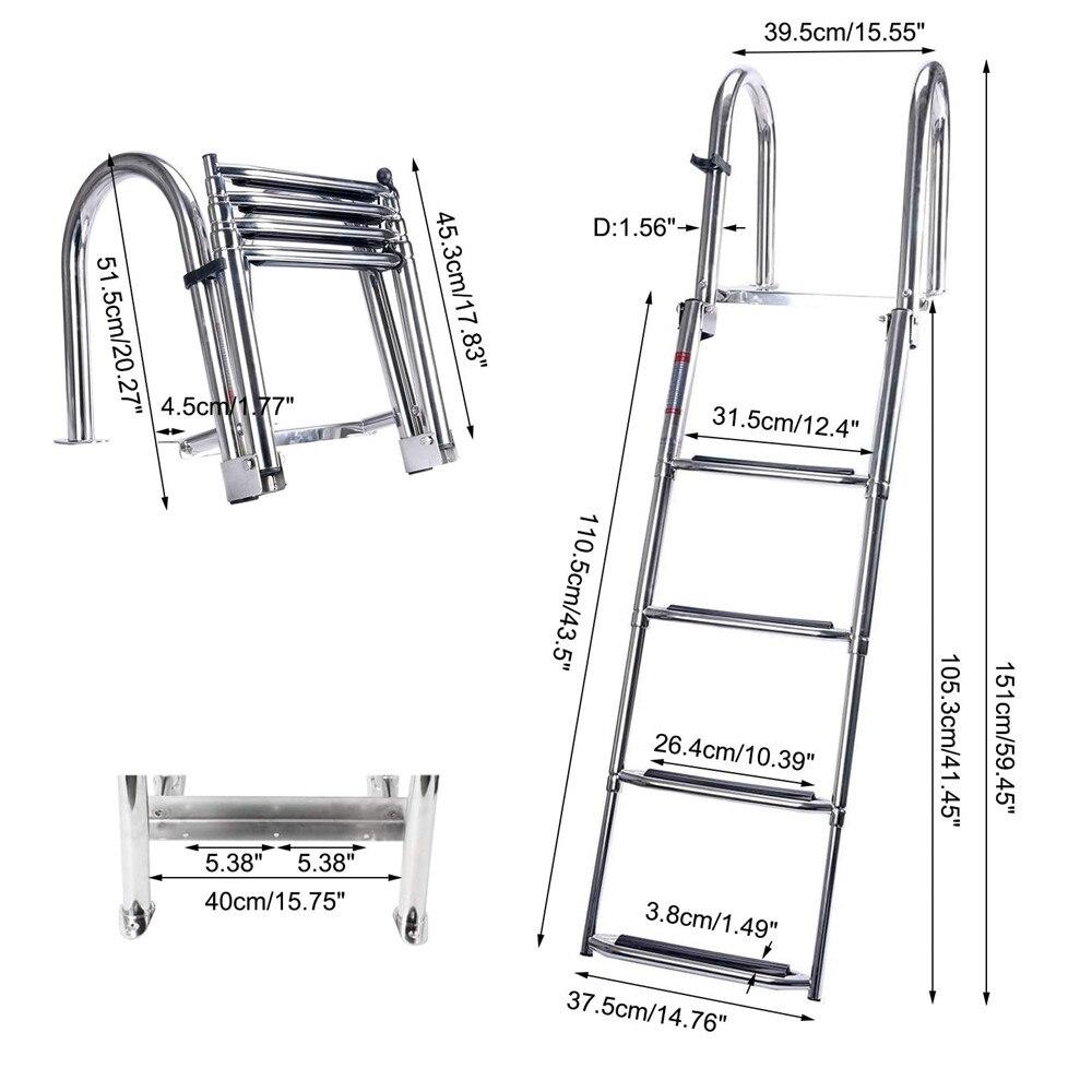 Marine 4 Step Pontoon Boat Ladder Foldable Stainless Steel Marine Rear Entry Telescoping Ladder with Wide Steps Swim Deck Ladder enlarge