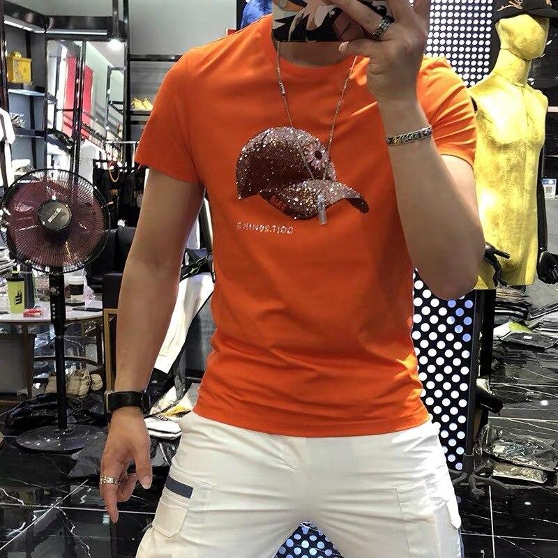 Summer New Short-sleeved T-shirt Men's Trendy Brand Hot Diamond Personality Trend Slim Round Neck Pullover Half Sleeve