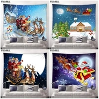 christmas tapestry santa claus sled reindeer wall hanging tapestries holiday party christmas decor home room xmas big %e2%80%8bblanket