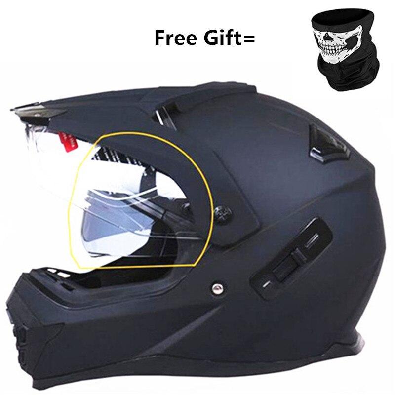 خوذات عدسة مزدوجة ، شحن مجاني ، خوذة دراجة نارية كاملة ، مع قناع هدية ، أسود غير لامع ، من XS إلى XL