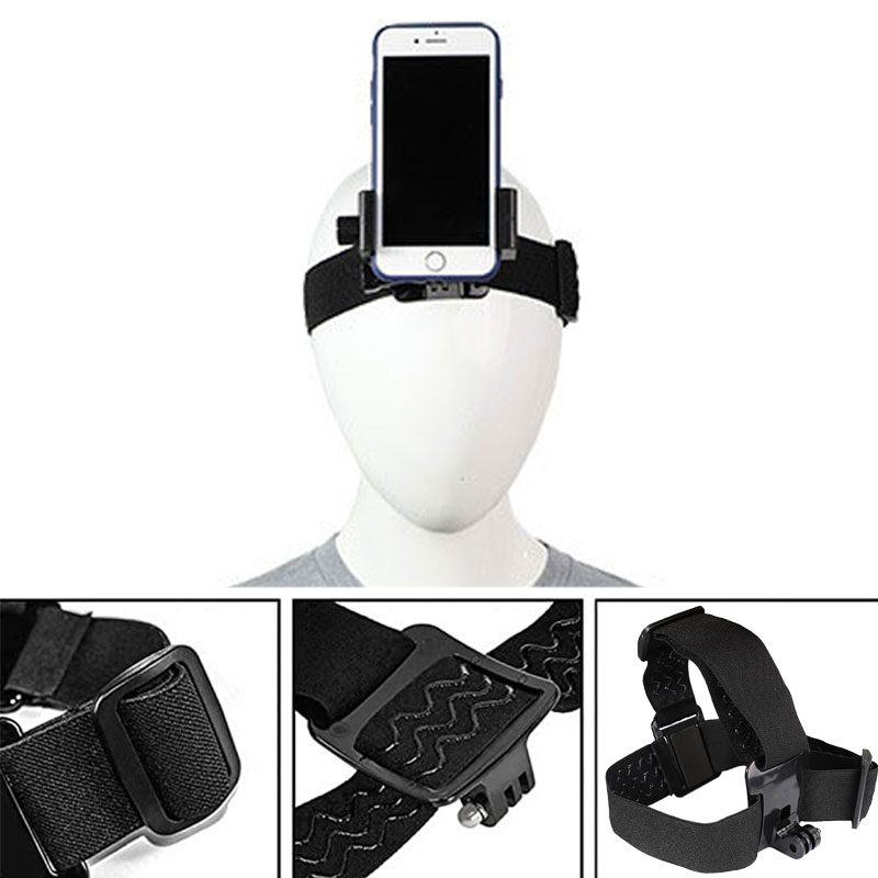 Head Band Phone Holder Head-Mounted Headband Mount Strap Adjustable Belt Cellphone Selfie Clip For 4.5-7 inches Smartphone