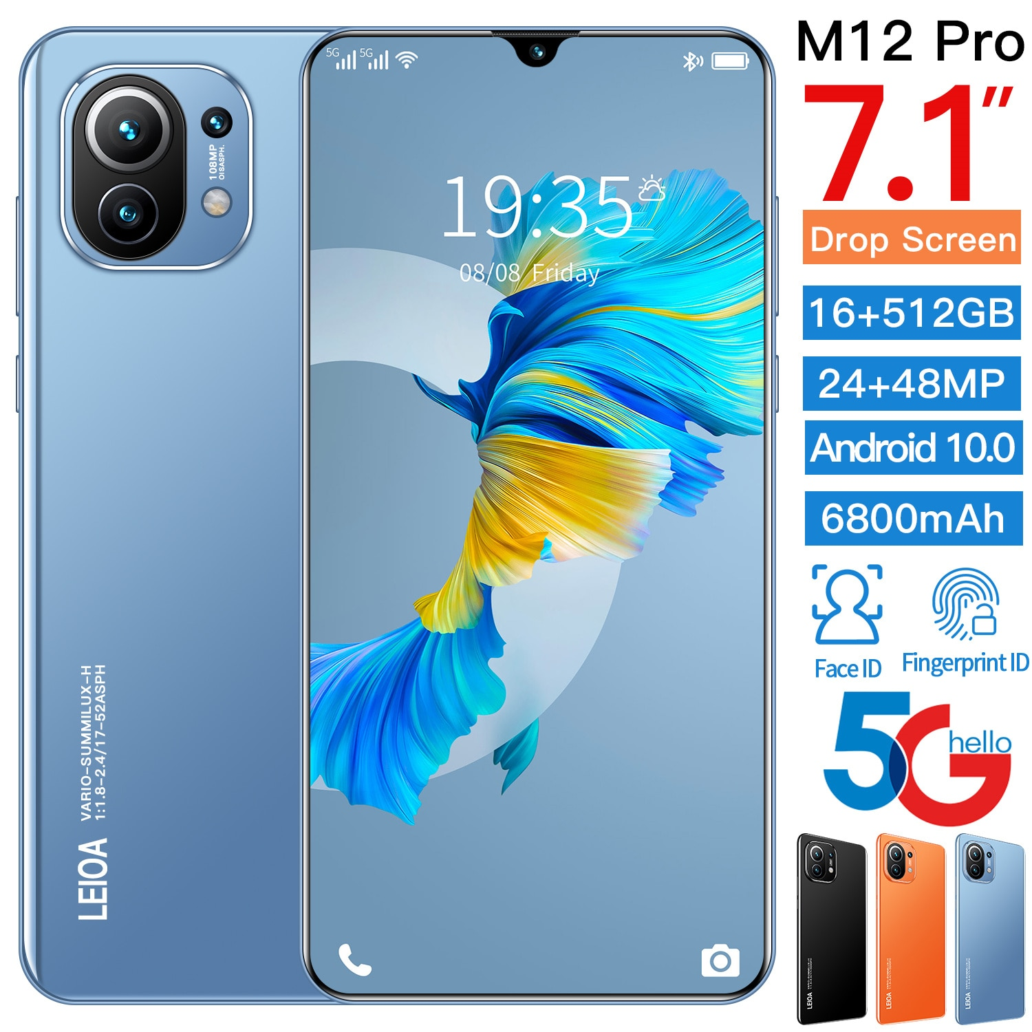 Global Version M12 Pro cellphone Android 10.0 16GB+512GB Dual Sim Unlocked Mobile Phone 7.1 Inch HD screen MTK 6889 Deca Core