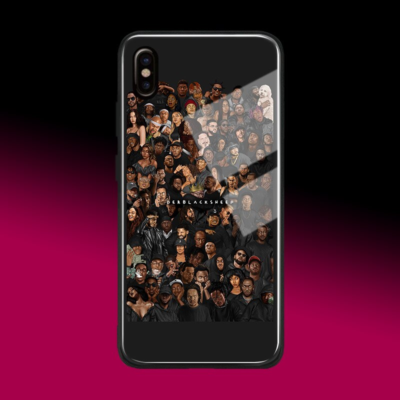 Popular rapper hiphop moda colagem arte silicone macio vidro caso do telefone para o iphone 6s 7 8 plus x xr xs 11 pro max