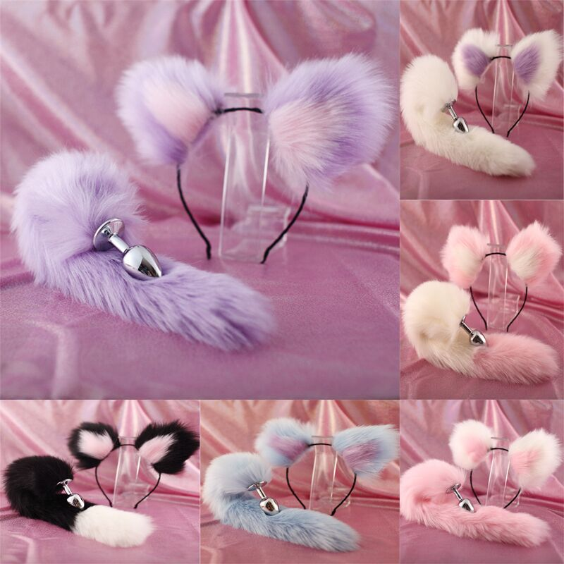 Cute Soft Cat ears Headbands with 40cm Fox Tail Bow Metal Butt Anal Plug Erotic Cosplay Accessories Adult Sex Toys for Couples