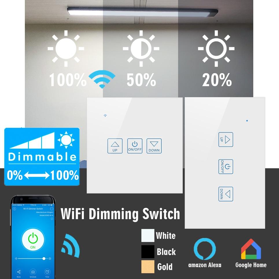 Norklmes-مفتاح باهتة ذكي ، لوحة كريستال فاخرة ، تحكم صوتي من Google و Amazon ، تحميل كبير ، أبيض ، ذهبي ، أسود ، 300 واط
