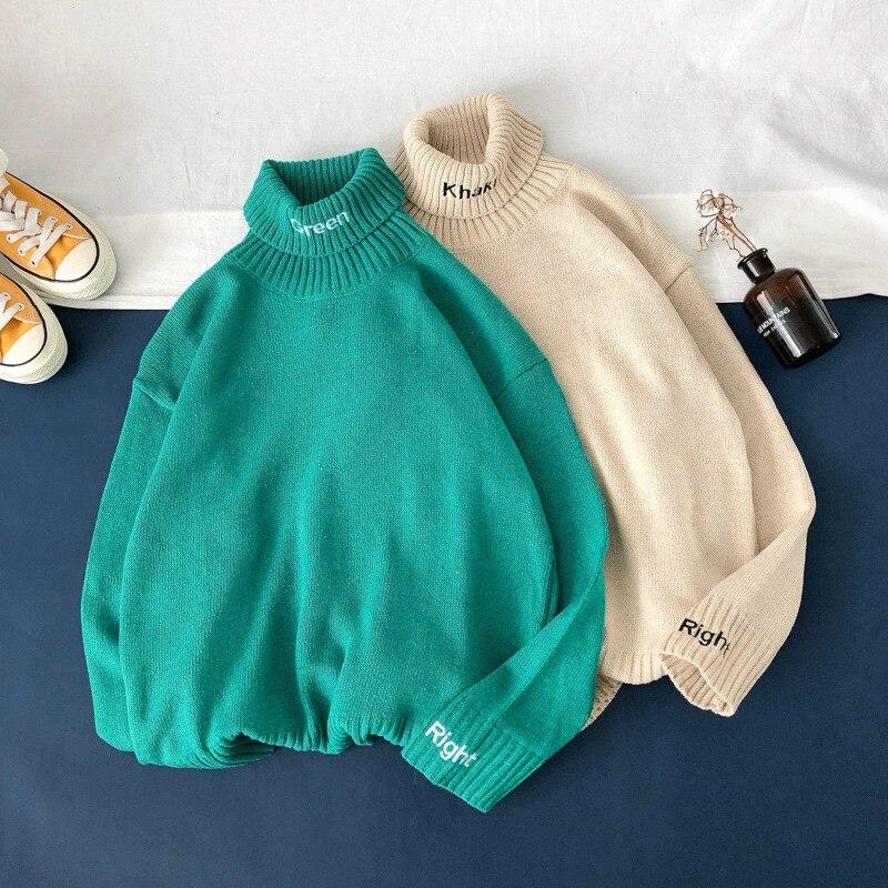 Осенний Новый Однотонный свитер QIWN, мужской свободный свитер с высоким воротом, Мужской Свитер оверсайз, свитеры, мужской черный свитер