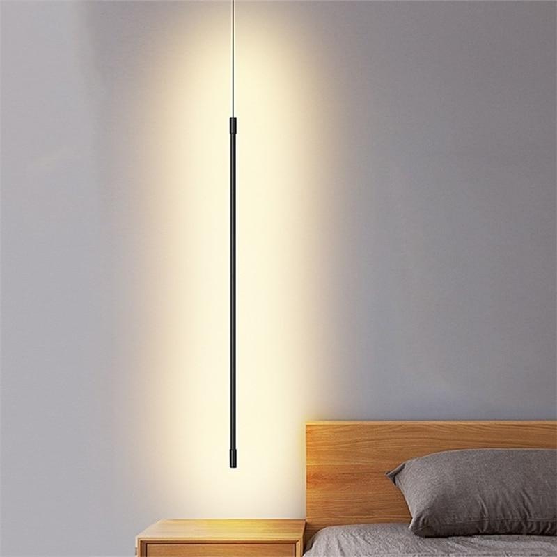 الحد الأدنى خط قطاع قلادة أضواء معلقة نوم السرير تركيبات إضاءة LED الحديثة غرفة المعيشة الإضاءة ديكور الهندسة مصباح