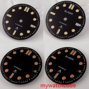 31mm Stainless Steel Balck Dial With Date Window Orange and Yellow  Marks Fit NH35 Automatic Movement