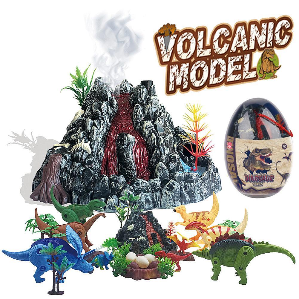 Escena de dinosaurio volcán realista, simulación del mundo de dinosaurios, modelo de pulverizador de volcán para niños, conjunto de juguetes de dinosaurios