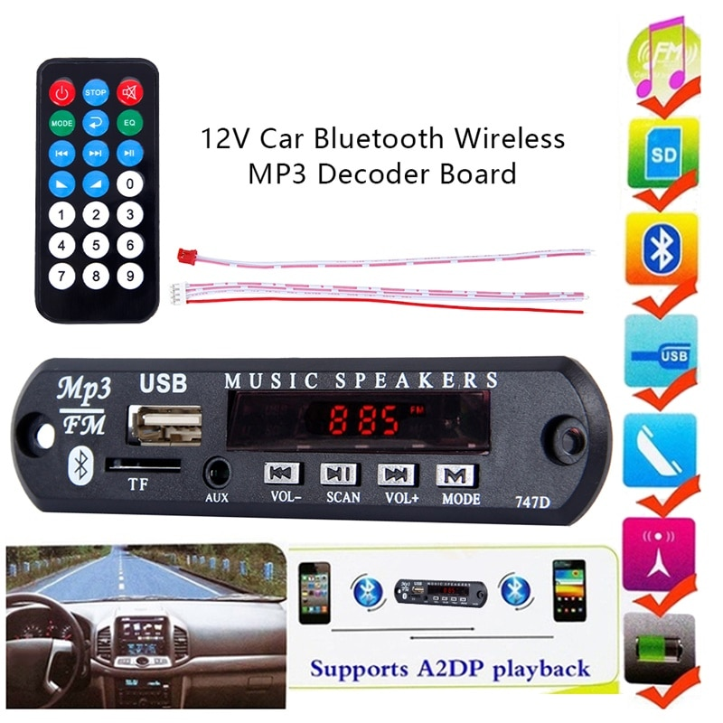 Odomy USB TF FM WMA 7V 12V Car Audio Radio Module Bluetooth Wireless MP3 Decoder Board with Remote Control For Car Accessories vicfine car audio usb tf fm radio module wireless bluetooth 6v 12v mp3 wma decoder board mp3 player with remote control